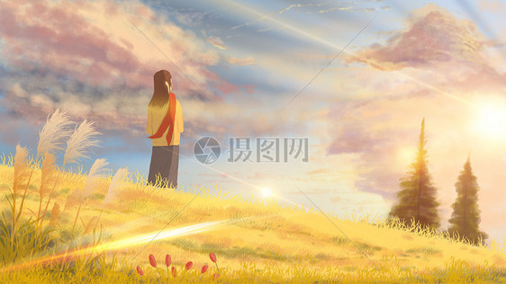 阳光下看云的少女手绘图片