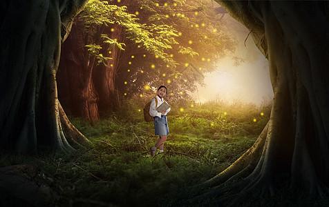 森林里治愈系读书男孩图片