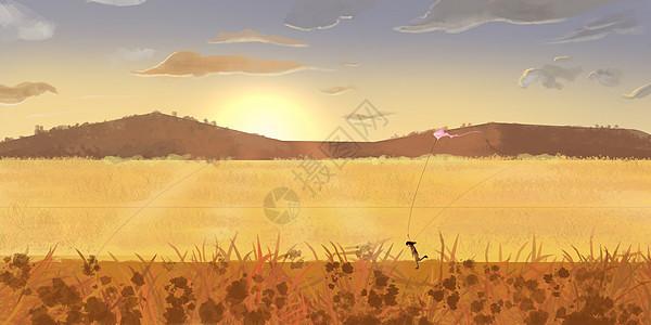 放风筝的小女孩插画图片