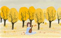 手绘秋季女孩户外弹吉他插图图片