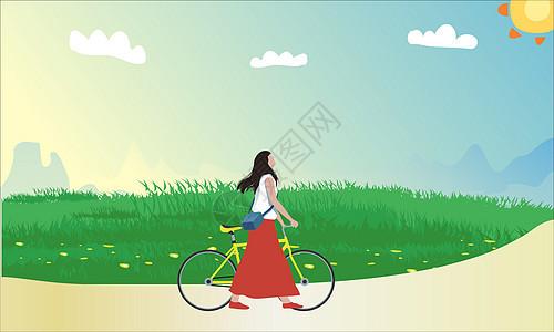骑单车的女孩图片