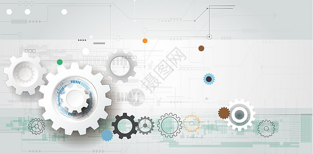 齿轮几何科技感背景图片