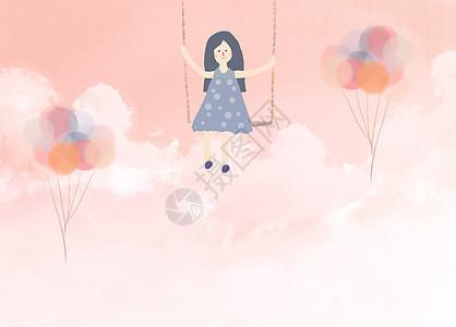 手绘粉色云端上的小女孩图片