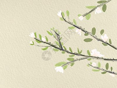 手绘古风树枝图片