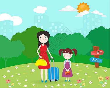 母女旅行插画图片