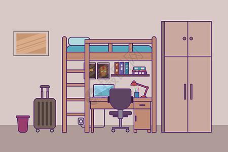 学生宿舍线性扁平插画图片