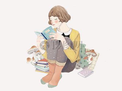 坐在地板上读书的女生图片