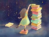 星空下的女孩与书图片
