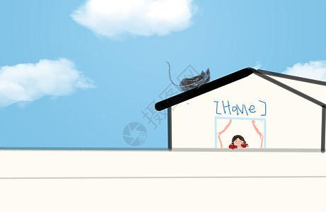 眺望窗台的小女孩图片