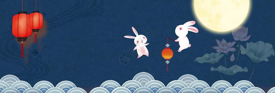 莲花玉兔中秋节图片