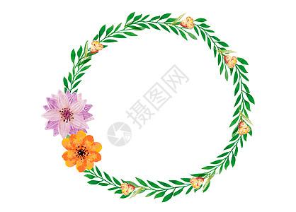 手绘绿叶花朵装饰花环图片