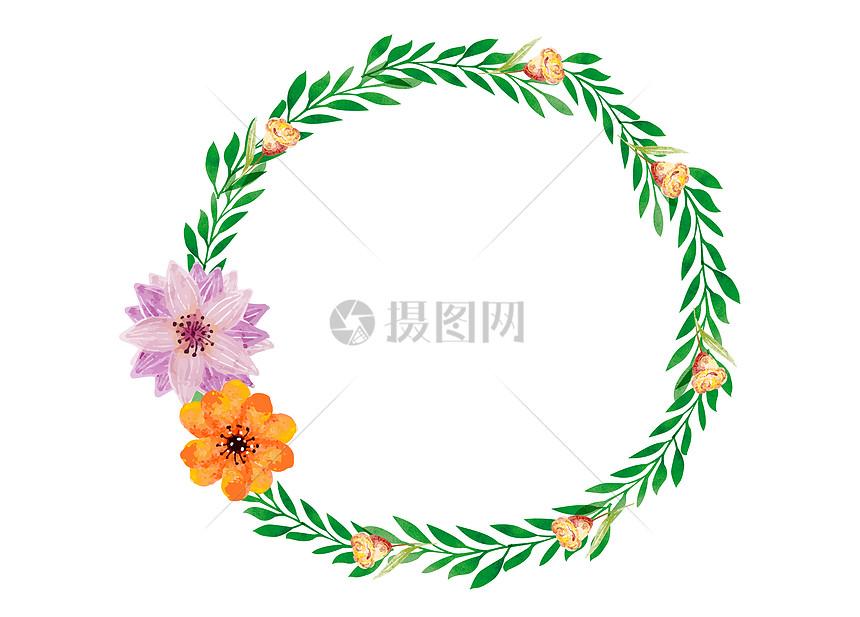 手绘绿叶花朵装饰花环