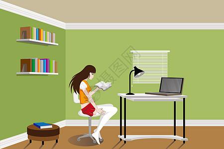 美女看书图片