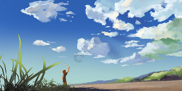 夏天的尾巴插画图片