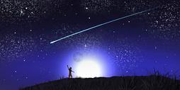 流星雨银河插画图片
