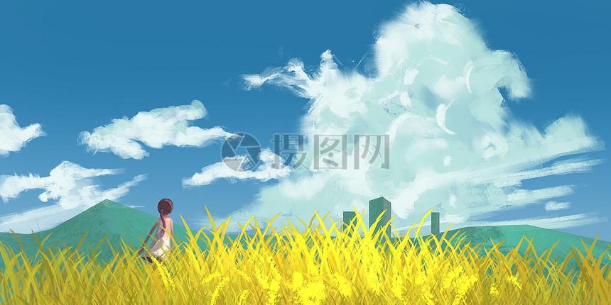 夏日麦田女孩插画图片