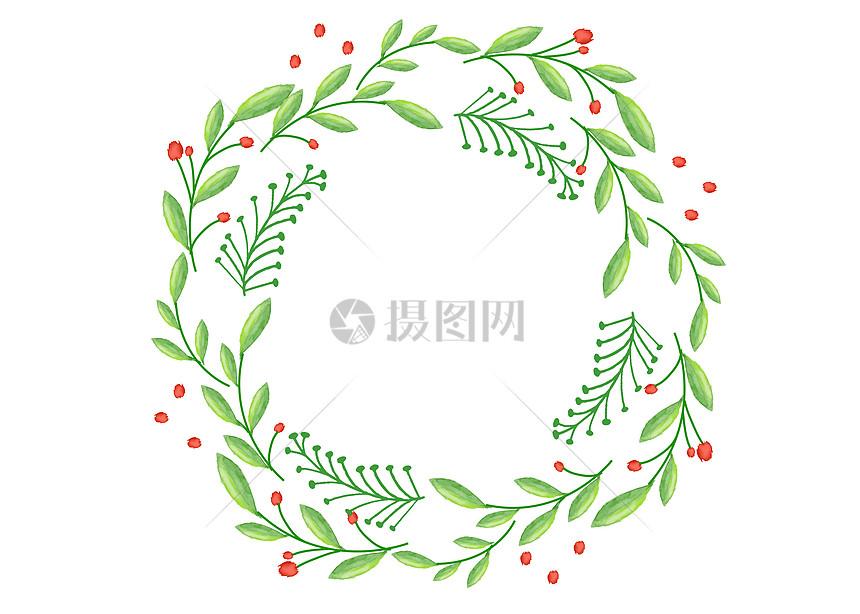 手绘水彩绿色叶子装饰