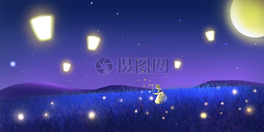 中秋节萤火虫少女插画图片