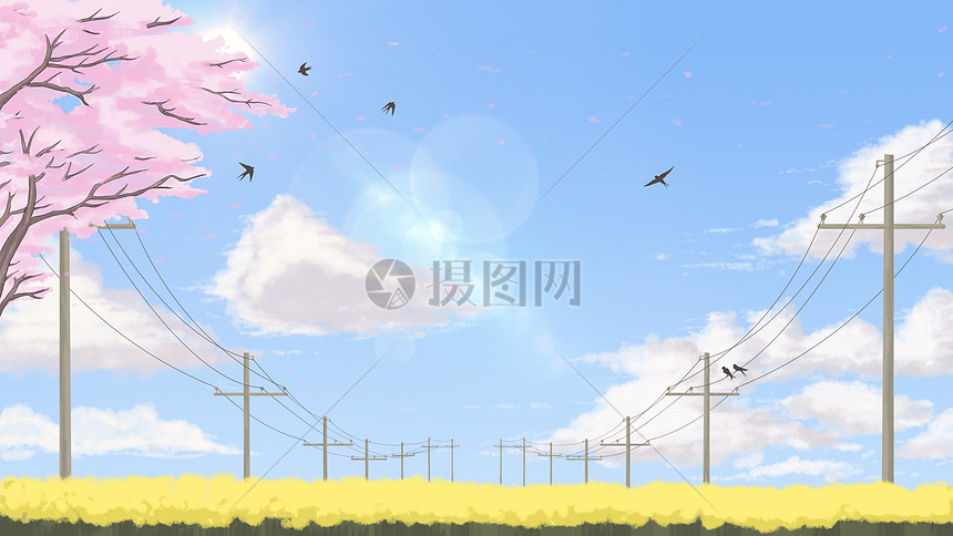 蓝天白云下的春暖花开插画图片