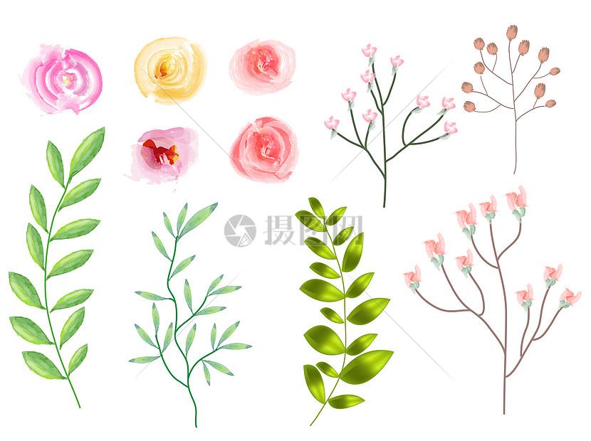 手绘水彩小花朵叶子装饰图片