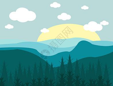 手绘太阳升起风景背景图片