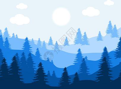 手绘自然景观群山松树风景图片
