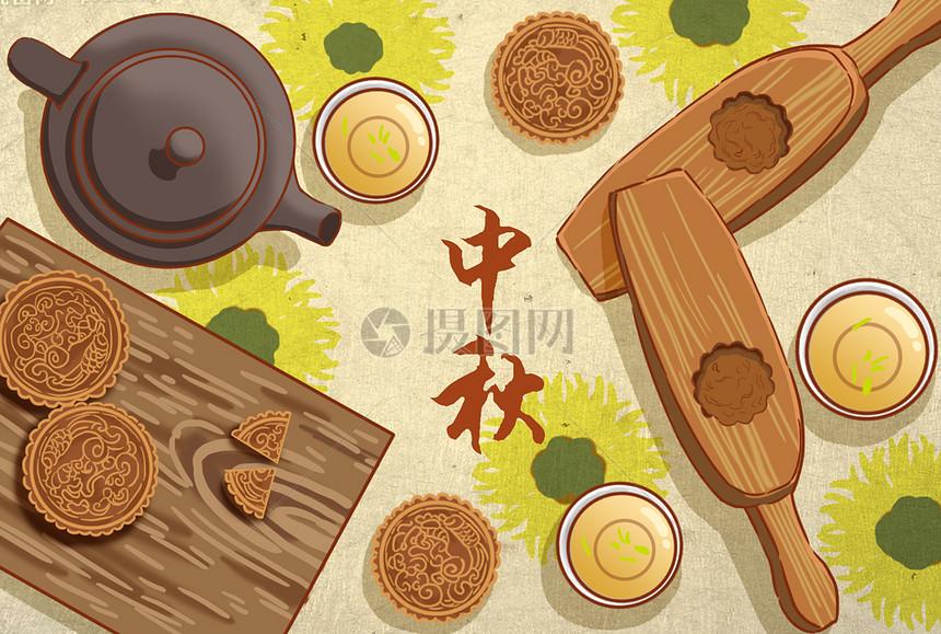中秋月饼插画图片