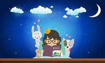 深夜读书的女孩图片