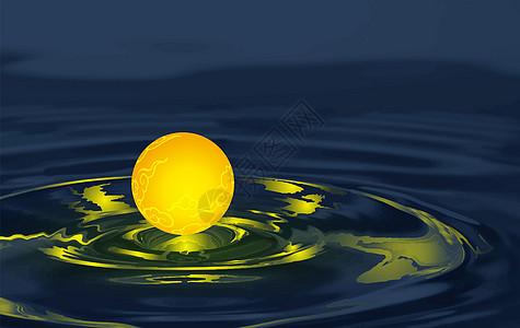 中秋明月浸水波图片