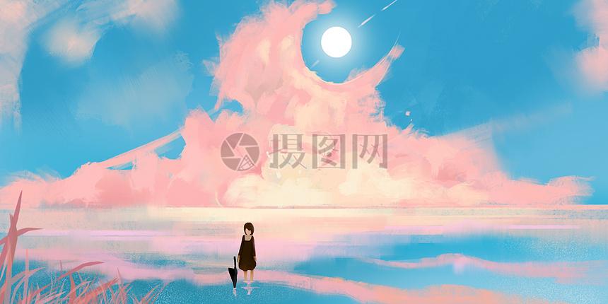 粉色晚霞等待的少女插画图片
