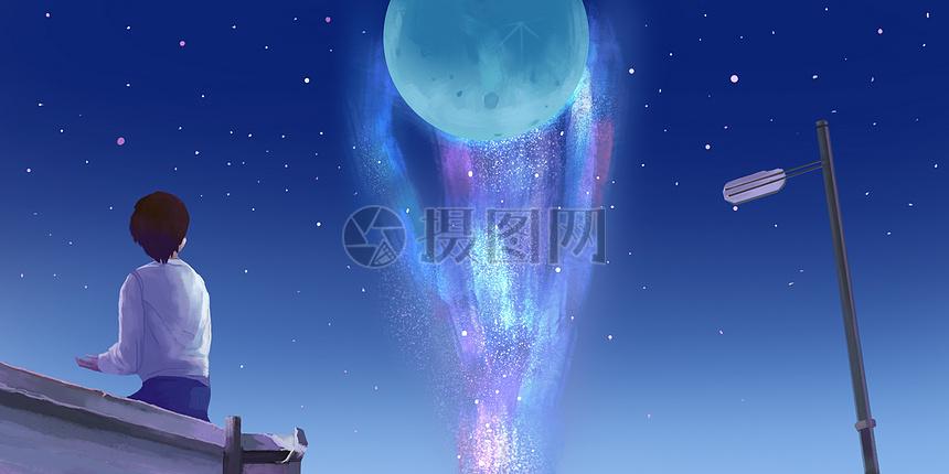 月球银河插画图片