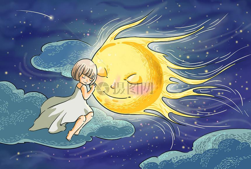 中秋圆月插画图片