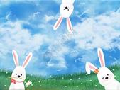 水彩卡通兔子中秋插画图片