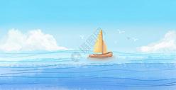 手绘水彩海面帆船背景图片
