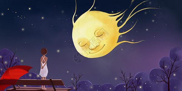 唯美月球人物插画图片
