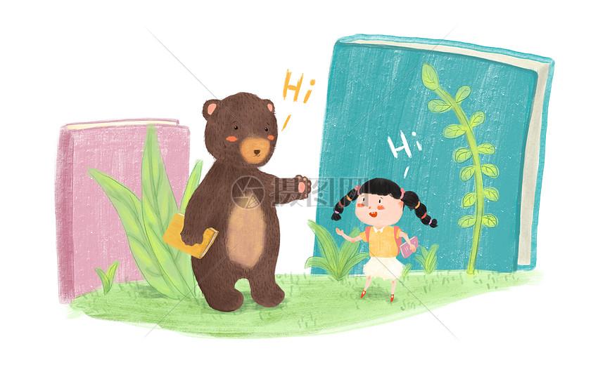 可爱儿童去上学插画图片