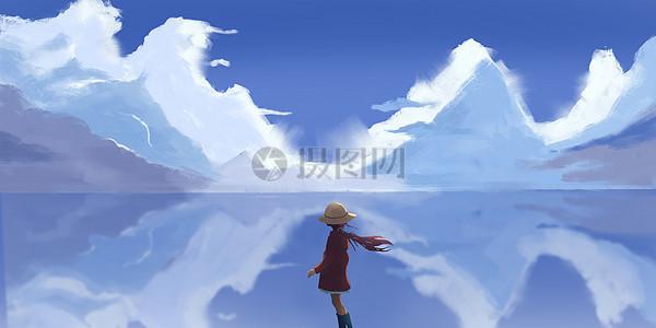 海景倒影人物插画图片