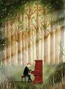 森林里弹钢琴的人图片