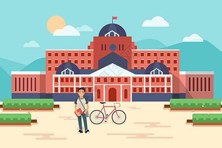 校园场景插画图片