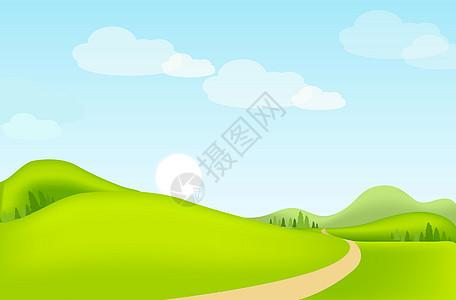 手绘草地自然风光插图图片