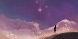 夜空中的星星插画图片