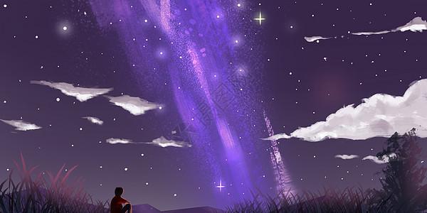 银河夜空星云插画图片