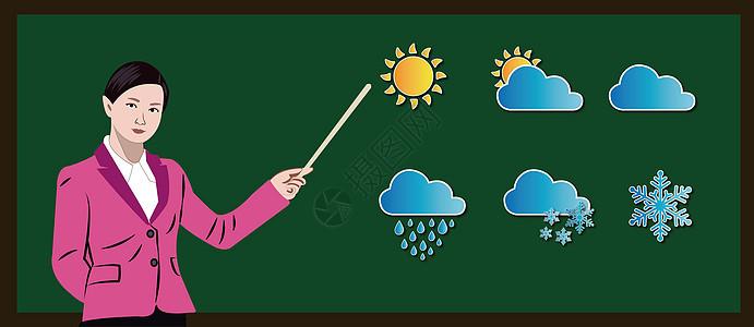 课堂上正在讲解气象知识的美女老师图片