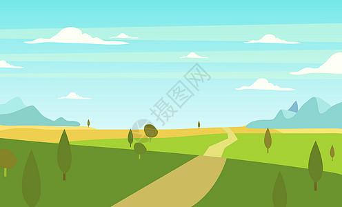 手绘田野道路绿色风景图片