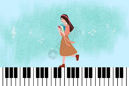 钢琴键上行走的女学生图片