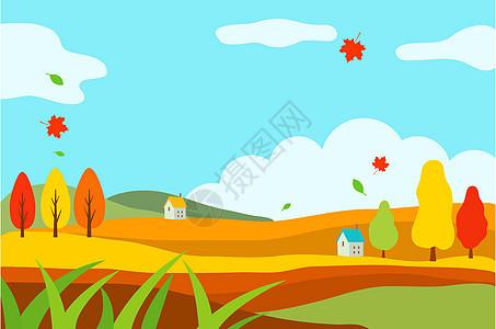 秋季山丘卡通风景图片
