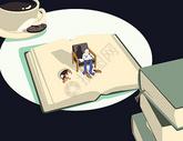 休闲阅读创意插画图片