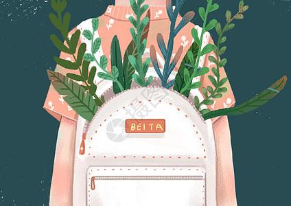 背书包的小女孩图片
