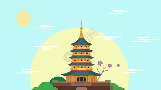 杭州西湖地标建筑素材图片