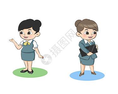 卡通美女商务人员职业套装图片